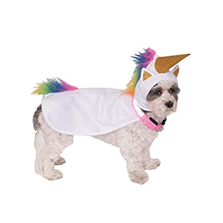 Horror-Shop Light Up Einhorn Hunde-Kostüm mit leuchtendem Hunde-Halsband S