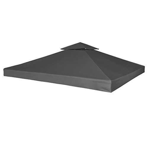 Festnight Copertura per Gazebo Impermeabile Ricambio per Gazebo 270 g m² Dark Grey 3 x 3 m