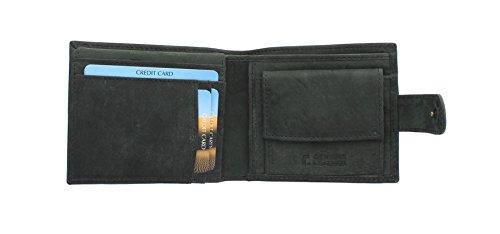 Sirocco Kollektion (Floren SIROCCO Kollektion Leder Bi-Fold Wallet 4259 Schwarz)