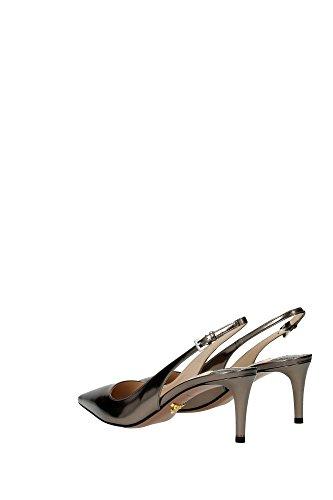 1I093FSASSOCAPRETTOLAMINA Prada Sandale Femme Cuir Gris Gris