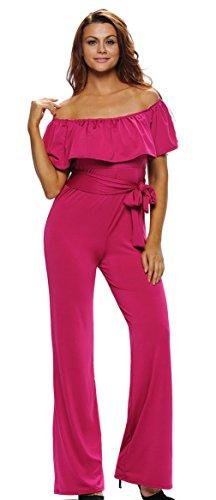 La Vogue Femme Combinaison Rompers Pantalon Jambes Larges Col Bateau Rose