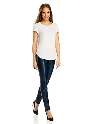 oodji Ultra Damen Hose Slim Fit aus Lederimitat, Blau, DE 38 / EU 40 / M