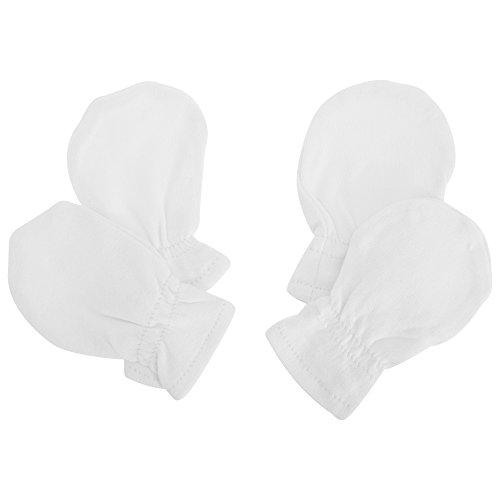 Baby Neugeborene Kratz Fäustlinge Baumwolle (2 Paar) (Einheitsgröße) (Weiß)