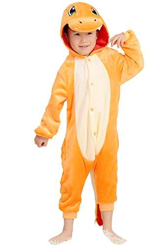 YAOMEI Kinder Unisex Jumpsuits, 2018 Kostüm Tier Onesie Nachthemd Schlafanzug Kapuzenpullover Nachtwäsche Cosplay Kigurum Fastnachtskostuem Weihnachten Halloween (120-130CM(47''-51''), (Charmander Halloween Kostüm)