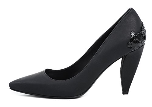 McQ ALEXANDER McQUEEN LEX PUMP SMOOTH LEATHER BLACK 40