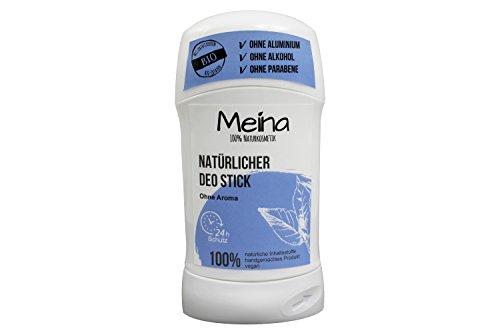 Meina Naturkosmetik - Deo Stick ohne Aluminium mit neutralem Duft (1 x 75 g) Bio Deodorant für Damen und Herren - vegan, alkoholfrei, handgemacht - 24 Std. Schutz