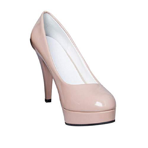 Scarpe col Tacco Donna Scarpe Comodo para Festa, Data, Matrimonio, Lavoro,Beige,41 EU