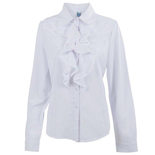 SODIAL(R) Frauen Damen Langarm Ruesche Ruesche Halsband OL Obrteile Bluse T-Shirt M Weiss (Bluse Rüschen-kragen)