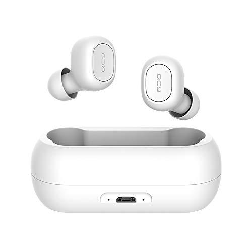 QCY T1C Verdaderos Auriculares inalámbricos Bluetooth 5.0 Auriculares estéreo 3D Auriculares inalámbricos con cancelación de Ruido Mic Incorporado para Android (Blanco)