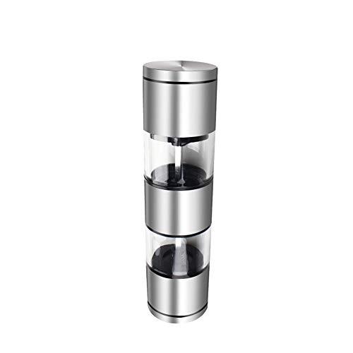 2 in 1 manuelle Salz- und Pfeffermühle, einstellbare Grobheit, Ceramic Premium Dual, Salz- und Pfefferkornmühle, Gewürzdosen aus Edelstahl mit Bürste und großem Fassungsvermögen Dual-mühle-set