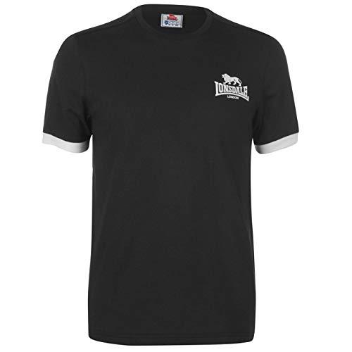 Lonsdale Herren T Shirt Kleines Logo Rundhals Kurzarm Schwarz M -