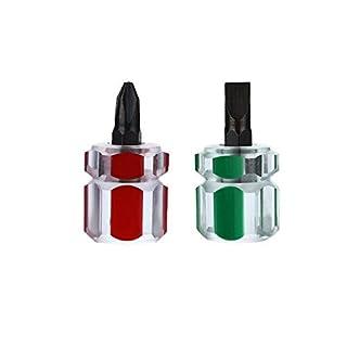 Mini-Schraubendreher-Set, kurz, Kreuzschlitz, Schlitzschraubendreher, Mini-Schraubendreher mit rotem Pflaumen-Schraubendreher und grünem Schlitz-Schraubendreher, 2 Stück
