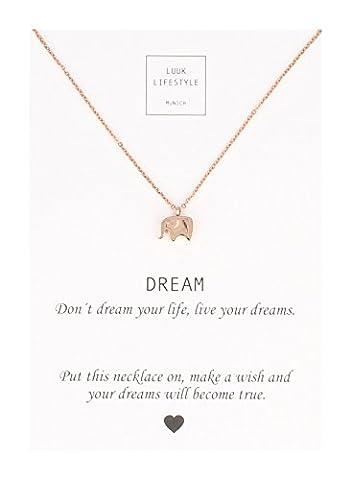 LUUK LIFESTYLE Bijou femmes, collier avec pendentif éléphants et carte message Dream, porte-bonheur, rose