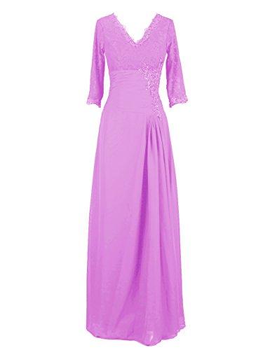 Dresstells, Robe de soirée Robe de cérémonie Robe de mère de mariée col en V manches 3/4 Lilas