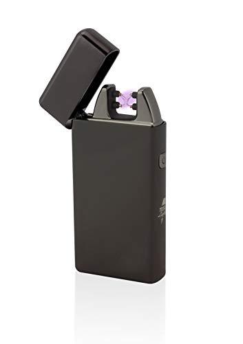 TESLA Lighter T05 Lichtbogen Feuerzeug, Plasma Double-Arc, elektronisch wiederaufladbar, aufladbar mit Strom per USB, ohne Gas und Benzin, mit Ladekabel, in Edler Geschenkverpackung, Schwarz