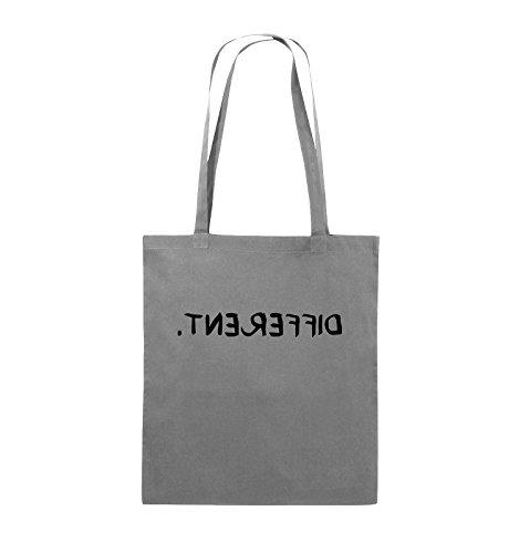 Comedy Bags - DIFFERENT - GESPIEGELT - Jutebeutel - lange Henkel - 38x42cm - Farbe: Schwarz / Silber Dunkelgrau / Schwarz