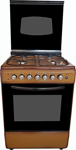 Cucina LAREL marrone 60x60 4 fuochi con forno ELETTRICO metano o GPL, grill elettrico e coperchio IN VETRO