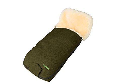Fellhof Lammfell Fußsack Kitzbühel, OEKO-TEX® Standard 100 zertifiziert, 47x100cm, wind- und wasserdicht, bei 30° C waschbar, für spezielle Kinderwagen, vorgefertigte Gurtschlitze (olive melange)
