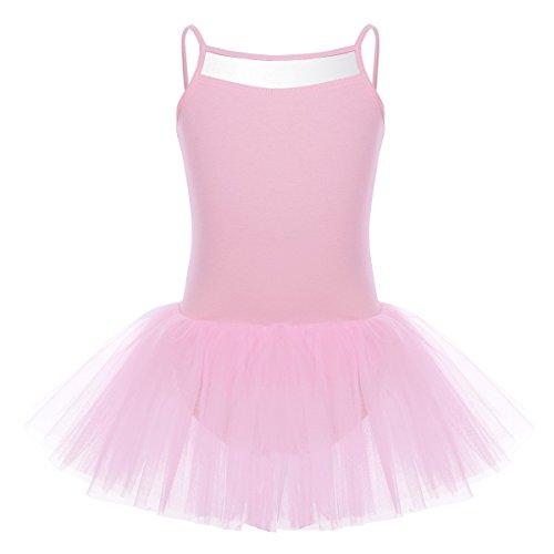 Tiaobug Kinder Mädchen Ballettkleid Ballettanzug Ballett Trikot Ärmellos Ballett Kleid mit Röckchen Rosa Lila Blau 92-164 Pink 152-164/12-14 (Tutu Lila Und Rosa)