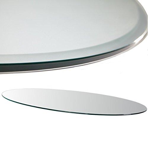 Tischplatte oval 100x60 cm Klarglas Tisch Kamin Glasscheibe Glastisch