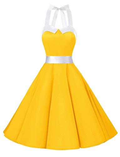 Dressystar Vestidos Corto Cuello Halter Estampado Flores y Lunares Vintage Retro Fiesta 50s 60s Rockabilly Mujer Amarillo Solido XS