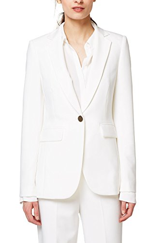 ESPRIT Collection Damen Anzugjacke 028EO1G017, Weiß (Off White 110), 38