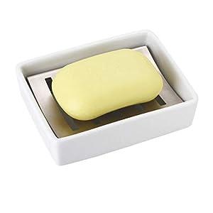 Sumnos Jabonera de Acero Inoxidable con Soporte de cerámica para jabón, Fregadero de baño, jabonera, Doble Capa de…