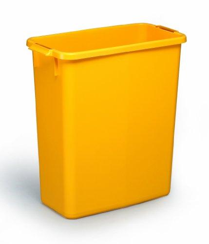 Stabiler Durabin rechteckiger Abfalleimer, 60Liter gelb