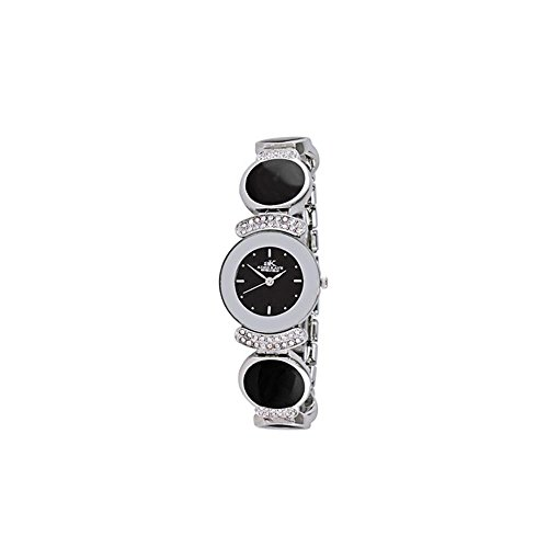 ADEE Kaye Women's Crystal Brass Bracelet & CASE Quartz Analog Watch AK8401-BLK