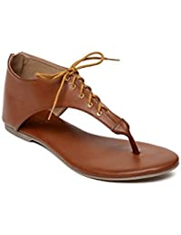 MONROW Tan PU Lace Tie Up Flats For Womens And Girls