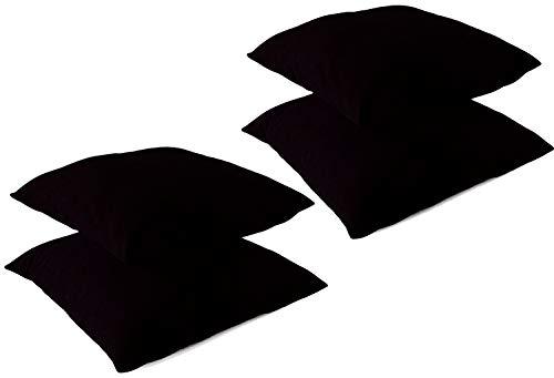 Leonado Vicenti Kissenbezug Kissenhüllen 4 Stück Baumwolle Renforce 50x50 cm Schwarz mit Reißverschluss
