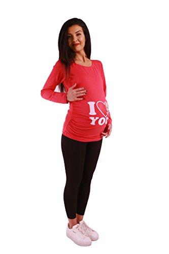 M.M.C. I Love You - Lustige Witzige Süße Umstandsmode/Sweatshirt Umstandsshirt mit Motiv für Die Schwangerschaft/Schwangerschaftsshirt, Langarm Koralle