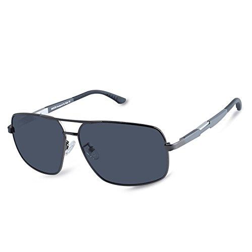Duco premium retro rettangolo cornice polarizzata occhiali da sole 100% protezione uv 3379 (telaio canna di fucile grigio lente)