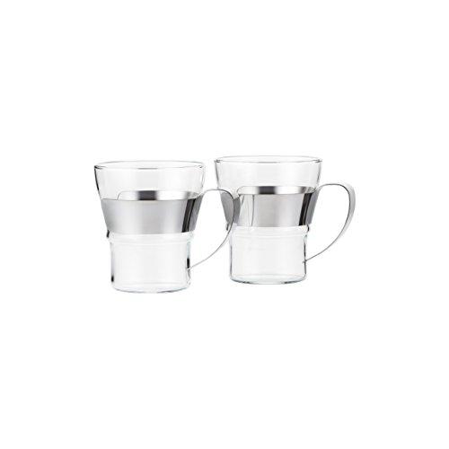 Bodum ASSAM 2-teiliges Kaffeeglas-Set (Doppelwandig, Metallgriff, Spülmaschinengeeignet, 0,3 liters) glänzend