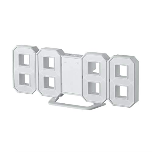 Reloj de Mesa Digital de sobremesa en Forma de 8 con Forma de LED Relojes termómetro Higrómetro Calendario...