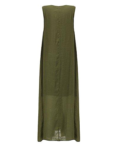 ZANZEA Femme Lin Col Rond Sans Manches Lâce Large Casual Tunique Robe Longue de Plage Cocktail Vert 442716
