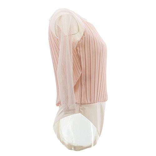 Netgozio Körper der Frauen 3/4 Hülse Jersey T-Shirt Transparente Spitze Sheer Sexy Neue Beiläufige Pink