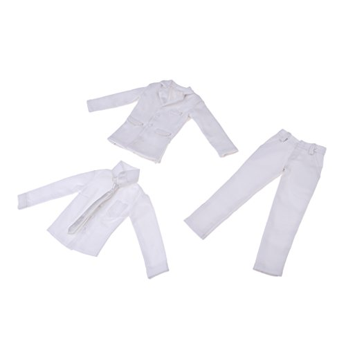 MagiDeal 1/6 Weiß Anzug Suits Bekleidung für 12 Zoll Männliche Action Figur, Puppenkleidung