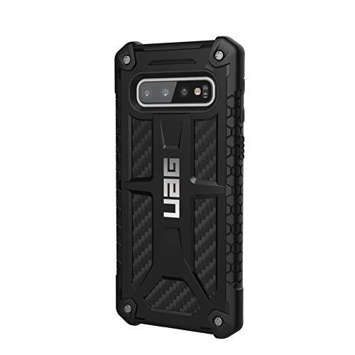 Urban Armor Gear Monarch Hülle für das Samsung Galaxy S10 nach US-Militärstandard [Qi kompatibel, Sturzfest, Verstärkte Ecken, Leder] - Carbon