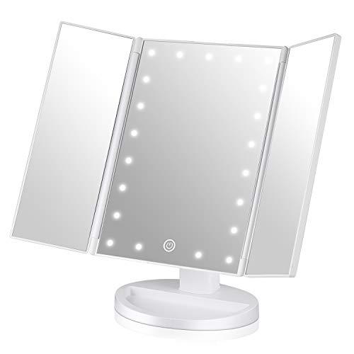EASEHOLD Espejo Maquillaje con Luz, Triple Espejo Plegable 21 Lámpara LED 180 Grado de Rotación Coméstico con Mostrador, Regalos Originales para Mujer (Blanco)