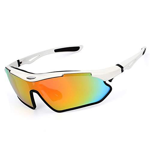 AmDxD TR90+PC Radsportbrille Fahrradbrille UV-Schutz Sonnenbrille Sportbrille für Motorrad Fahrrad Helmkompatible, Weiß Schwarz