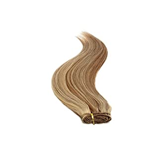 Euro Silky Weave 90g Human Hair Extensions | 18 inch | Mouse Brown Sunshine Mix (8/24)