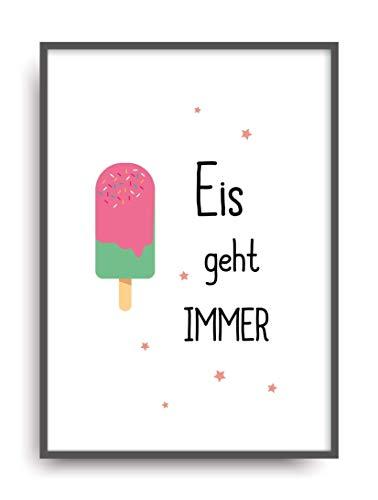 Kunstdruck EIS GEHT IMMER Poster Bild Print ungerahmt DIN A4 Vintage Eis
