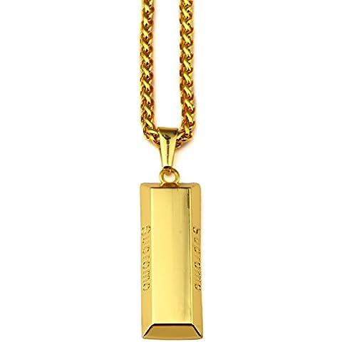 AlwaysBling® Hip Hop Fashion chapado en oro grande Gold Bar Colgante Collar
