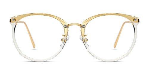 TIJN Damen Retro Runde Optische Brille Ohne Stärke Rahmen Brillenfassung Transparent