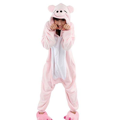 Imagen de aivtalk  ropa de dormir adulto de franela suave traje de disfraz animal cerdo rosa para homewear cosplay festival de navidad halloween  talla xl