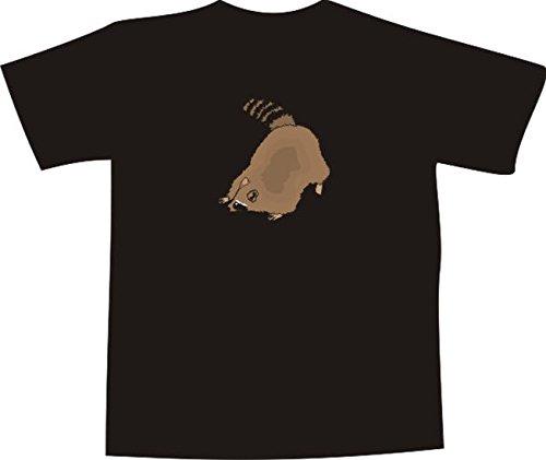 T-Shirt E707 Schönes T-Shirt mit farbigem Brustaufdruck - Logo / Grafik - Comic Design - dicker Waschbär duckt sich Weiß