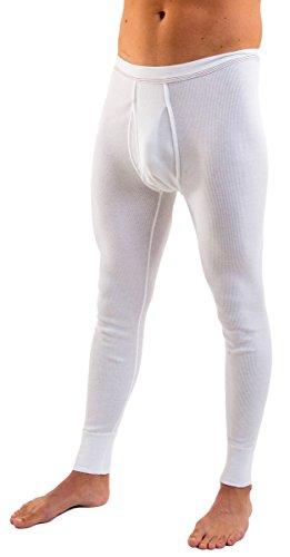 HERMKO 3542 2er Pack Herren lange Unterhose Bio Baumwolle Doppelripp, Farbe:weiß, Größe:D 5 = EU M (Gerippt Bio-baumwolle)