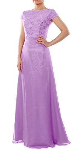 MACloth Elegant Cap Sleeve Long Bridesmaid Dress Wedding Party Gown with Jacket Lavande