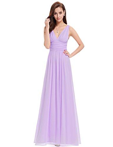 Ever Pretty Damen V-Ausschnitt Lange Chiffon Abendkleider Festkleider 48 Hellviolett
